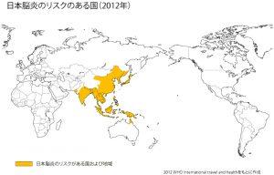 日本脳炎のリスクのある国